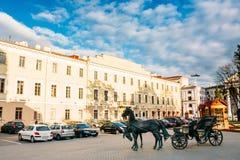 Μέρος της παλαιάς πόλης - Hill τριάδας - ιστορικό κέντρο (Nemiga) Στοκ εικόνες με δικαίωμα ελεύθερης χρήσης