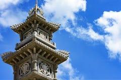 Μέρος του αρχιτεκτονικού βουδιστικού ναού πυλών στο Βιετνάμ στήλη Στοκ Εικόνες