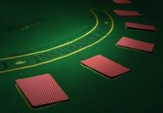 Μέρος του πίνακα πόκερ με τις κάρτες τρισδιάστατη υψηλή ανάλυση εικόνας απεικόνισης Στοκ Εικόνες