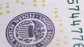 Μέρος των 100 ΗΠΑ Bill, άποψη τύπος εκτύπωσης των Ηνωμένων Πολιτειών, το σύστημα Κεντρικής Τράπεζας των ΗΠΑ απόθεμα βίντεο