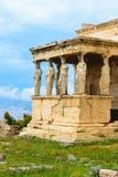 Μέρος των καρυατίδων του ναού αρχαίου Έλληνα Erechtheion στοκ εικόνα με δικαίωμα ελεύθερης χρήσης
