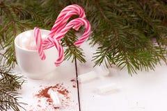 Μέρος των κόκκινων και άσπρων ριγωτών καλάμων καραμελών Χριστουγέννων Στοκ Εικόνες