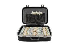 Μέρος των χρημάτων σε μια βαλίτσα που απομονώνεται στο λευκό, με το ψαλίδισμα της πορείας Στοκ Εικόνες