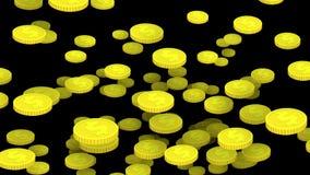 Μέρος των χρυσών νομισμάτων κινούμενων σχεδίων που αφορούν κάτω τον καθαρό Μαύρο ελεύθερη απεικόνιση δικαιώματος