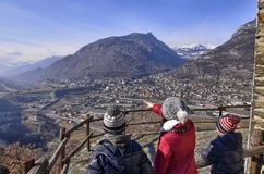 Μέρος Ussel Chatillon, Valle δ ` Aosta, Ιταλία στις 11 Φεβρουαρίου 2018 Στοκ Εικόνες