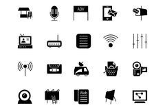 Μέσα και διανυσματικά εικονίδια 4 διαφημίσεων Στοκ Εικόνα