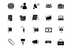 Μέσα και διανυσματικά εικονίδια 3 διαφημίσεων Στοκ Εικόνα