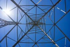 Μέσα σε έναν ηλεκτρικό πύργο μετάλλων Στοκ Φωτογραφίες