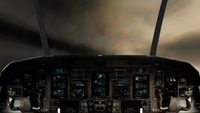 Μέσα σε ένα πιλοτήριο διαστημοπλοίων που πετά μέσω μιας ογκώδους θύελλας αστραπής ελεύθερη απεικόνιση δικαιώματος