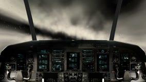 Μέσα σε ένα πιλοτήριο διαστημοπλοίων που πετά μέσω των σύννεφων διανυσματική απεικόνιση