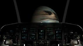 Μέσα σε ένα πιλοτήριο διαστημοπλοίων που πετά προς έναν άγνωστο πλανήτη διανυσματική απεικόνιση