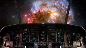 Μέσα σε ένα πιλοτήριο διαστημοπλοίων που πετά προς έναν σπειροειδή γαλαξία διανυσματική απεικόνιση