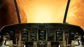 Μέσα σε ένα πιλοτήριο διαστημοπλοίων που πετά προς έναν φωτεινό ήλιο απεικόνιση αποθεμάτων