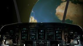 Μέσα σε ένα πιλοτήριο διαστημοπλοίων που πετά προς το πλανήτη Γη διανυσματική απεικόνιση