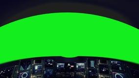 Μέσα σε ένα πιλοτήριο διαστημοπλοίων σε μια πράσινη οθόνη απεικόνιση αποθεμάτων