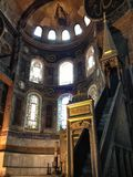 Μέσα στην εκκλησία μουσουλμανικών τεμενών Hagia Sophia Στοκ Εικόνες