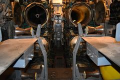 Μέσα στο περιορισμένο διάστημα του USS Pompanito, SS-383, 1 Στοκ φωτογραφία με δικαίωμα ελεύθερης χρήσης