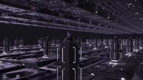 Μέσα στο σχέδιο διαστημικών σκαφών 1920x1080 Μελλοντικός σταθμός παραγωγής ηλεκτρικού ρεύματος διανυσματική απεικόνιση