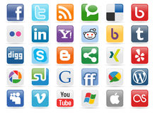 μέσα 1 κουμπιών κοινωνικά διανυσματική απεικόνιση
