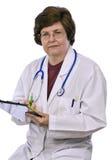 Μέσης ηλικίας θηλυκή συνεδρίαση γιατρών κάτω Στοκ φωτογραφία με δικαίωμα ελεύθερης χρήσης