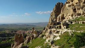Μέση άποψη τμημάτων Uchisar Castle απόθεμα βίντεο
