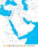 Μέση Ανατολή και Ασία - χάρτης, εικονίδια ναυσιπλοΐας - απεικόνιση Στοκ Εικόνες