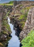 Μέση ατλαντική κορυφογραμμή, Thingvellir, Ισλανδία στοκ εικόνες
