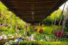 Μέση γεφυρών ή γεφυρών για πεζούς Suspansion των δέντρων, άποψη κάτω από τη γέφυρα για πεζούς στοκ εικόνα με δικαίωμα ελεύθερης χρήσης