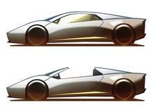 Μέσος-μηχανή Coupe σώματος αυτοκινήτων και ανοικτό αυτοκίνητο Απεικόνιση αποθεμάτων