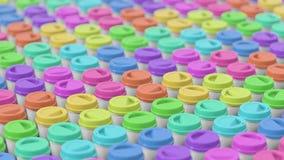Μέσος πυροβολισμός μιας ογκώδους σειράς ολοκληρωμένων Colorfully φλυτζανιών καφέ Στοκ Φωτογραφίες