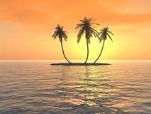μέσο ηλιοβασίλεμα νησιών Στοκ Εικόνες
