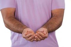 Μέσο τμήμα του ατόμου με τα χέρια κοίλα στοκ φωτογραφίες με δικαίωμα ελεύθερης χρήσης