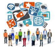 Μέσων κοινωνική τεχνολογία σε απευθείας σύνδεση Con Διαδικτύου δικτύων μέσων κοινωνική Στοκ εικόνες με δικαίωμα ελεύθερης χρήσης