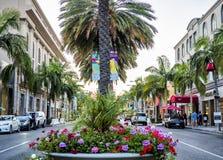 Μέσω του ροντέο - Drive, φοίνικες και λουλούδια ροντέο στο στις 12 Αυγούστου 2017 - Λος Άντζελες, Λα, Καλιφόρνια, ασβέστιο Στοκ Εικόνες