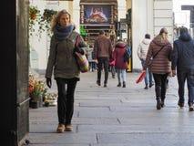 Μέσω Po της κιονοστοιχίας στο Τορίνο Στοκ Εικόνες