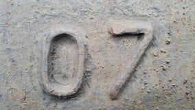 Μέταλλο αριθμός 7 Σύσταση του σκουριασμένου μετάλλου υπό μορφή σχημάτων 07 Στοκ φωτογραφία με δικαίωμα ελεύθερης χρήσης
