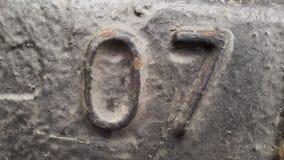 Μέταλλο αριθμός 07 Σύσταση του σκουριασμένου μετάλλου υπό μορφή σχημάτων 07 Στοκ Εικόνα