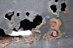 Μέταλλο σκουριάς, ζημία της σκουριάς και υπόβαθρο διάβρωσης στοκ εικόνες