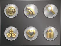 Μέταλλο γύρω από τα εικονίδια Steampunk, επίπεδο Στοκ φωτογραφίες με δικαίωμα ελεύθερης χρήσης