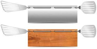 Μέταλλο εστιατορίων και ξύλινα εμβλήματα Στοκ Εικόνα