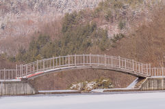 Μέταλλο και ξύλινη γέφυρα ποδιών πέρα από μια παγωμένη λίμνη Στοκ εικόνα με δικαίωμα ελεύθερης χρήσης