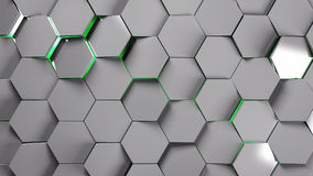 μέταλλο και πράσινο hexagons σύγχρονο υπόβαθρο Στοκ Φωτογραφίες