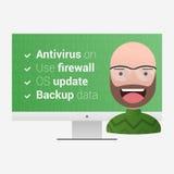 Μέτρα προστασίας ιών Ικανοποιημένος χρήστης σε ένα backgrou υπολογιστών Ελεύθερη απεικόνιση δικαιώματος