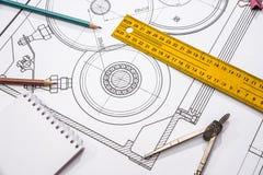 μέτρηση των εργαλείων στο υπόβαθρο των τεχνικών σχεδίων Στοκ εικόνα με δικαίωμα ελεύθερης χρήσης