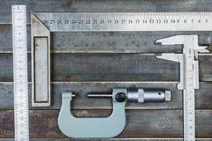 Μέτρηση των εργαλείων, υπόβαθρο μετάλλων Ανασκόπηση, σύσταση Στοκ Εικόνες
