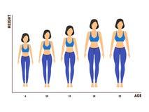 Μέτρηση ύψους και ηλικίας της αύξησης από το κορίτσι στη γυναίκα διάνυσμα ελεύθερη απεικόνιση δικαιώματος