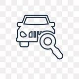 Μέτωπο αυτοκινήτων στο διανυσματικό εικονίδιο γυαλιού Magnifier που απομονώνεται σε διαφανή ελεύθερη απεικόνιση δικαιώματος
