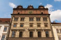 Μέτωπο ιστορικού Townhall Plzen, Τσεχία Στοκ εικόνες με δικαίωμα ελεύθερης χρήσης