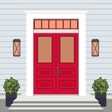 Μέτωπο πορτών σπιτιών με το κατώφλι και τα βήματα, παράθυρο, λαμπτήρες, λουλούδια ελεύθερη απεικόνιση δικαιώματος