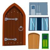 Μέτωπο πορτών χρώματος στο σπίτι και διανυσματικό κομψό διακοσμήσεων απεικόνισης ύφους σχεδίου διαμερισμάτων οικοδόμησης σύγχρονο Στοκ εικόνες με δικαίωμα ελεύθερης χρήσης